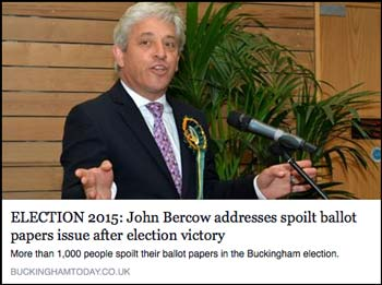 John Bercow addresses spoilt ballots after election victory.